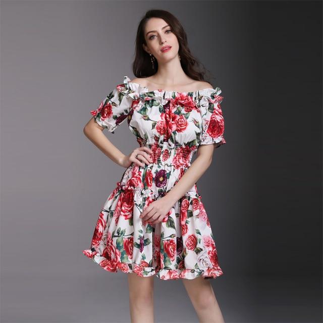 e9a50634663 2018 Newest Pretty Print Women Floral Dress Fashion High Quality Slash neck  Above Knee Mini Slim Female Cute Dress