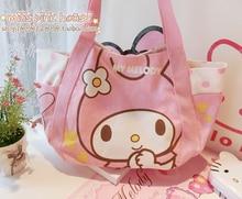 Kawaii Hello Kitty Melody Reusable Canvas Shopping Bag Shoulder Bags Beach Foldable Folding Grocery pocket Cartoon Tote