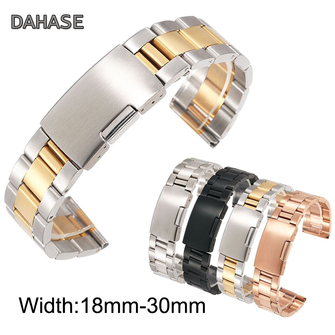 30mm 28mm 26mm 24mm 22mm 20mm 18mm Stainless Steel Watch Band Solid Classic Metal Wristband for Smart Watch Strap Men Women silver watchband bracelet strap 18mm 20mm 22mm 24mm 26mm high quality metal stainless steel watch band for men women hours