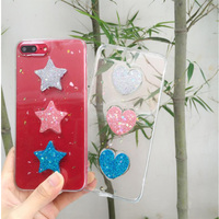 Transparent Glitter Star Love Heart Phone Case For IPhone 6Plus 6sPlus 7 7Plus Cute Candy Color