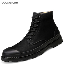 Winter men's boots causal leather army shoes work safety ankle boot snow big size 38-46 shoe man tactical military boots for men spring autum army combat boots leather men work safety shoe steel toe security shoes for men winter snow boot ankle suede