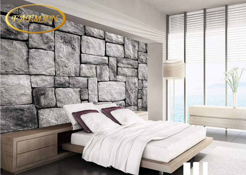 US $15.97 35% OFF|Benutzerdefinierte 3d wandbild tapete Grau Europäischen  stil retro stein mauer hintergrund wand malerischen wohnzimmer schlafzimmer  ...