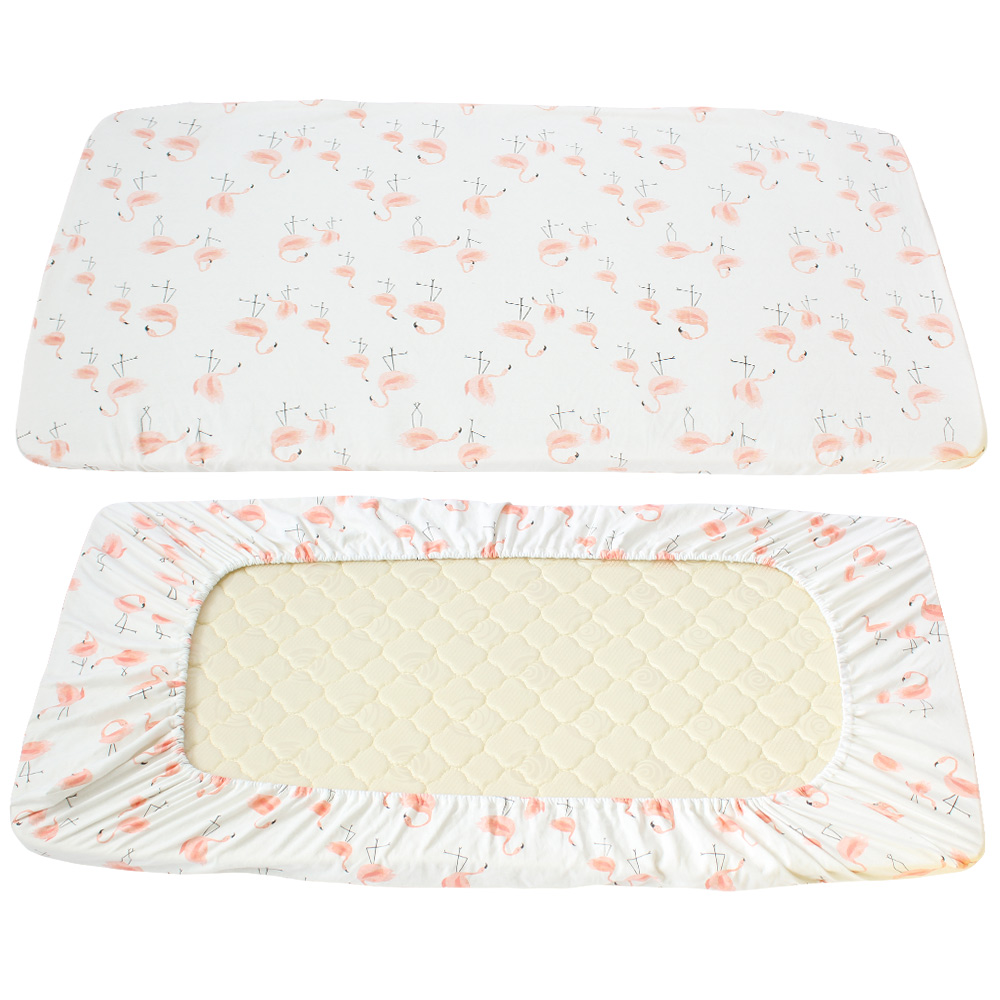 Baby bed sheet pattern - Baby Bed Sheets 100 Cotton Cute Flamingo Pattern Crib Sheets Soft Breathable Baby Bed Linen