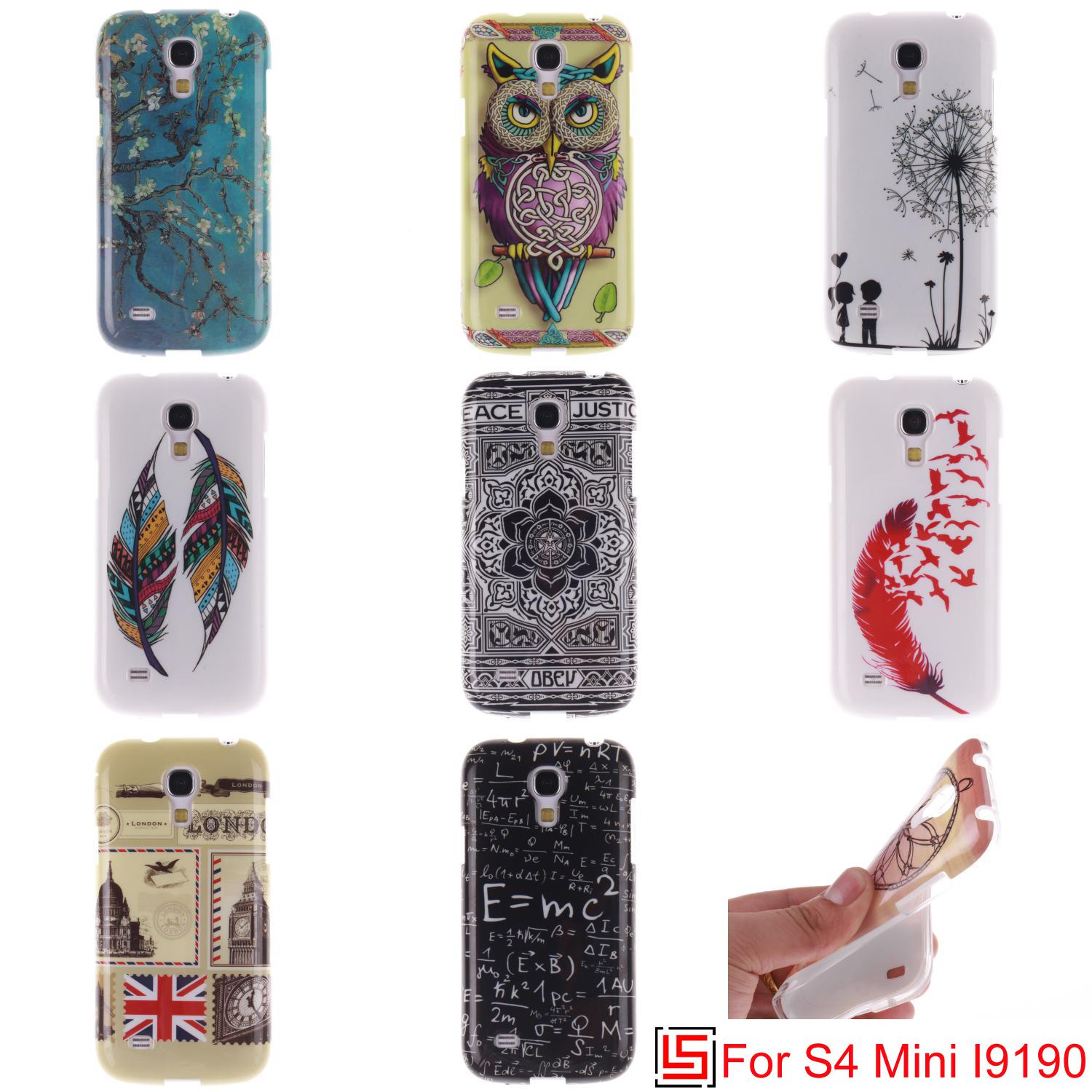 Pretty New Ultra Thin TPU Silicone Soft Phone Cell Mobile Case Cover For Samsung Galaxy Galaxi S4 mini S IV 4 Feather Flower
