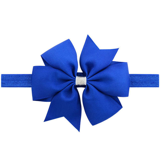 Online Shop 20pcs Kids Little Girls 11CM Ribbon hair bows elastic flower  headband royal blue dusty pink yellow black brown white navy  3720028b9c1