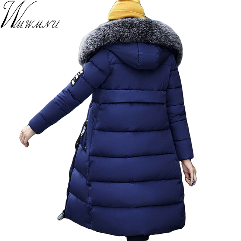 Wmwmnu Winter Long Cotton Coat for Women Slim faux fur collar Parka Outerwear Plus Size Thick Wadded Padded Jacket Cotton Coats 2017 new women winter jacket long solid color fur hooded slim big size female cotton coat wadded warm parka outerwear ok1006