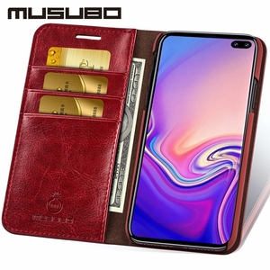 Image 3 - Musubo Business Luxury Case For Samsung Galaxy S20 S10 S10+ S10e Genuine Leather Flip Cases Cover for S9 Plus Funda Coque Capa
