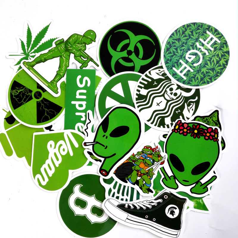 20 Pieces lot Green Style Stickers For Car Laptop Bicycle Luggage Skateboard Motorcycle Refrigerator Decal font