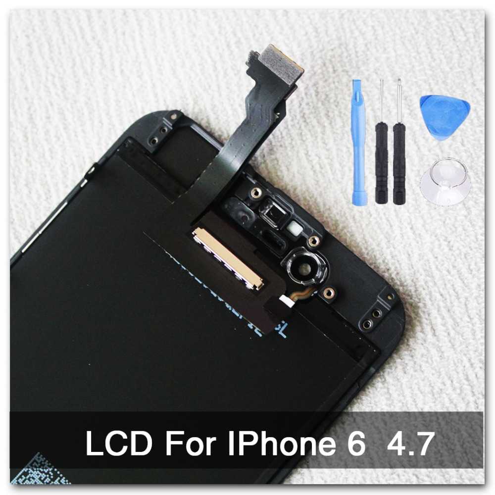 imágenes para 100% aaa calidad de reemplazo para iphone 6 lcd pantalla + asamblea del digitizador de la pantalla de 4.7 pulgadas negro ningún pixel muerto