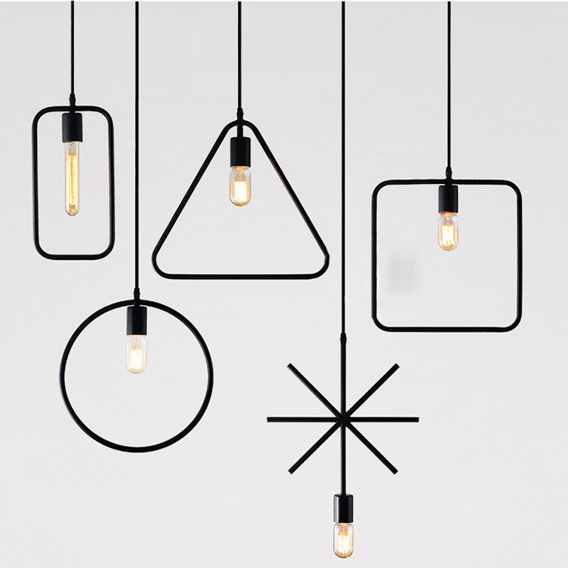 1 Piece New style geometrical figure simple iron black finished vintage Ind1 ustrial Pendant Light Lamp free shipping one sample order new style geometrical figure simple iron black finished pendant lamps dk 60