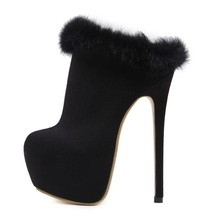 2019 New Shoes Platform Black Thin High Heels Ankle Boots Fur Decor Round Toe Slip On Heels Mules Pumps Woman Party Dress Shoes fedonas brand socks boots women high heels round toe party weddding shoes woman autumn winter high slip on stretch boots pumps