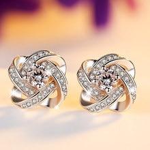 цена на Eternity zircon CZ diamond stud earring 925 pure silver hearts and arrows earrings anti-allergic