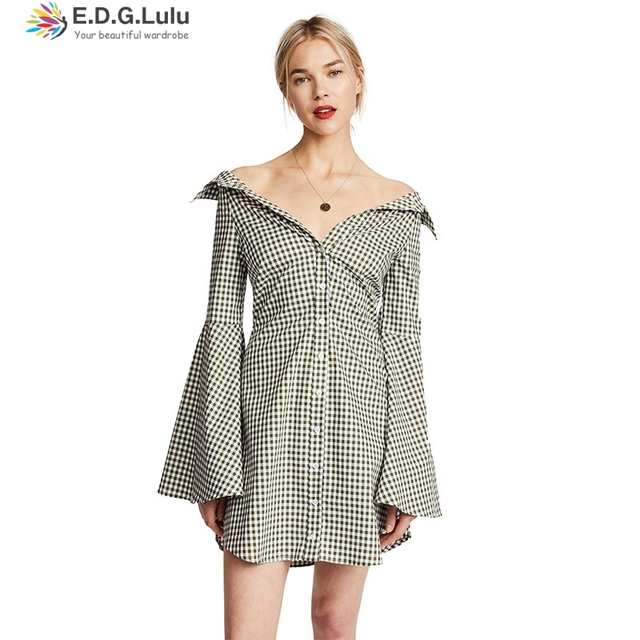 1f2ced297ca EDGLulu vintage dress sexy off the shoulder womens plus size fashio sfit  and flare autumn fall 2018 gingham dress