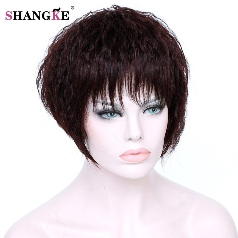 SHANGKE Short Brown Kinky Curly Hair Wigs Wome Natural Fake Hair Heat Resistant Synthetic African American Wigs For  Women