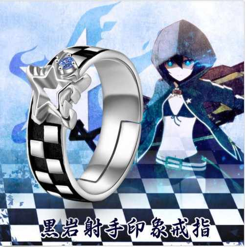 Negro ROCK SHOOTER BRS Anime ajustable anillo de Plata de Ley 925 #7 #8 #9 Cosplay