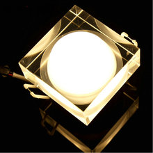 Led Spotlight 3w red blue white 4pcs/lot Roundsquare Down Light Acrylics dc12v Recessed Retail 5 years Warranty time
