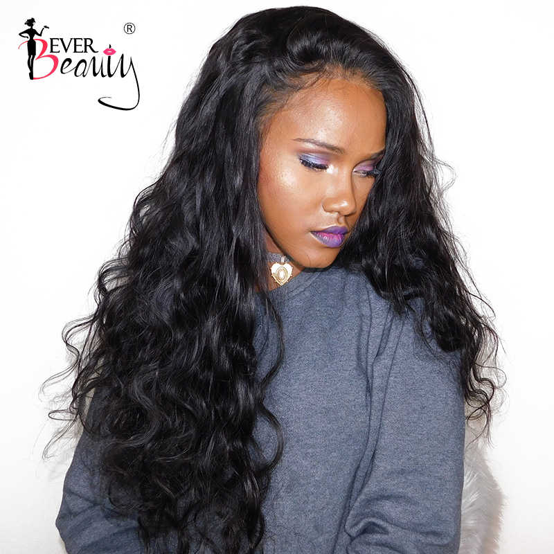 Lace Front Human Hair Wigs For Women Brazilian Body Wave Glueless Full End 250% Density Lace Front Wig Black Ever Beauty Remy