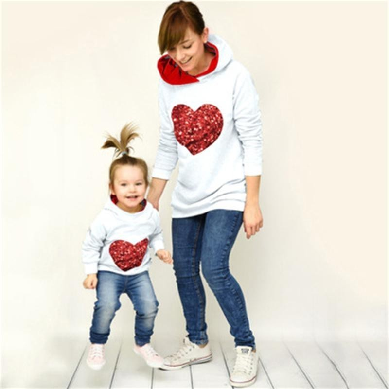 Style Household Matching Spring Autumn Hoodies Mom Daughter Sweatshirt Cotton Mother And Daughter Garments Household Matching Outfits