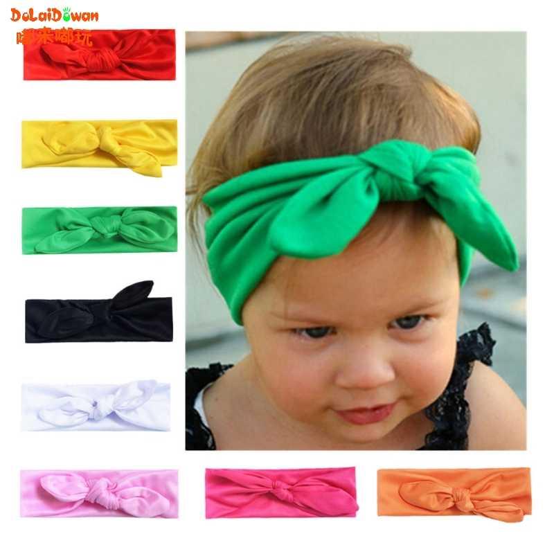 เด็กผมวงดนตรีหญิงผ้าฝ้ายแถบคาดศีรษะยืดหยุ่น Boutique knotted DIY ผมสำหรับทารกอุปกรณ์เสริมผม