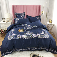 New Luxury 60S Egyptian Cotton Royal Embroidery Palace Bedding Set Blue Pink Purple Green Duvet Cover Bed sheet/Linen Pillowcase