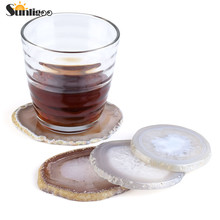 Sunligoo 1pc Agate Coaster Cup Mat Natural Sliced Agate Beverage Coasters for Drinks Gift 3.15 Inch- 3.93 Inch Choose Randomly