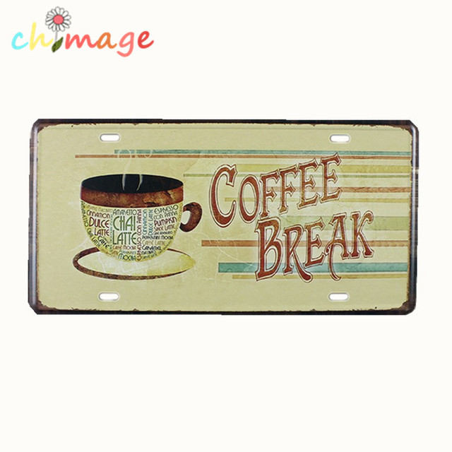 COFFEE BREAK CAR PLATE Vintage Tin Sign Bar pub home Wall Decor ...