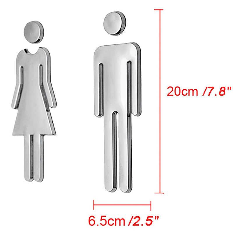 35a345ff69e2 Cartel de baño acrílico con respaldo adhesivo para hombres y mujeres o  Unisex para Hotel, oficina, hogar, restaurante (Plata)