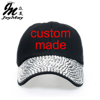 1pc Free Shipping High Quality Fashion Unisex Custom Made Cap Demin Fabric Jean Cap Rhinestone Baseball