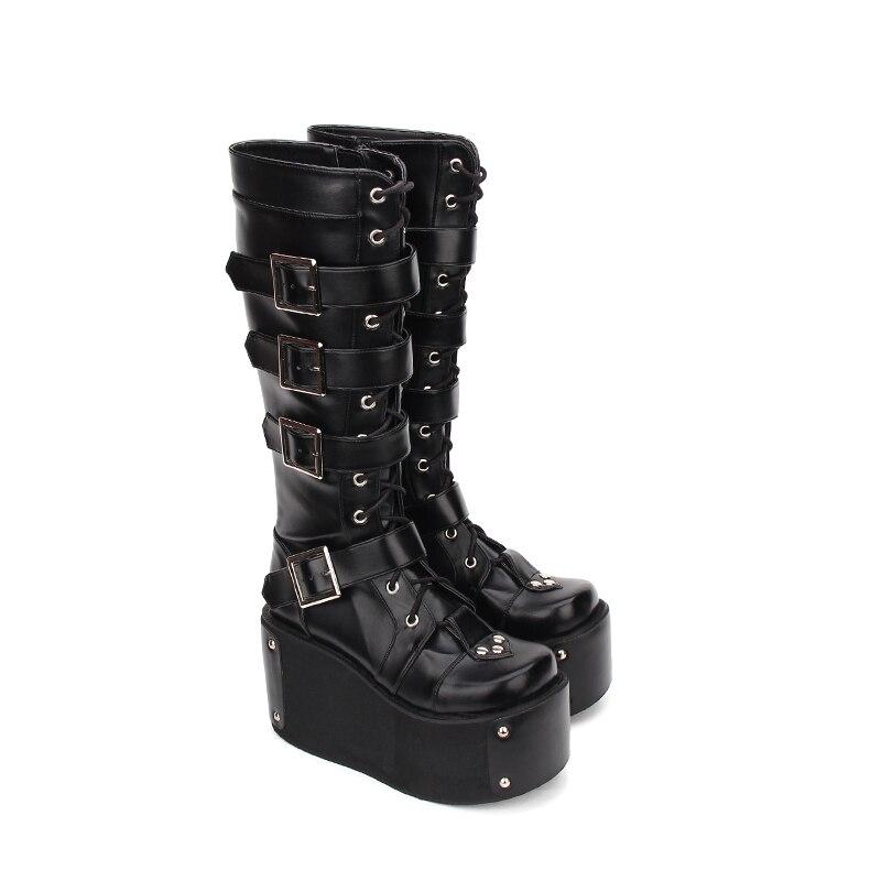 f1a4e5bcb 10 Cm Mujeres Chica Zapatos Lolita Botas Impresión Tacones Motocicleta Negro  Bombas Princesa Punky Mori Remaches Mujer ...