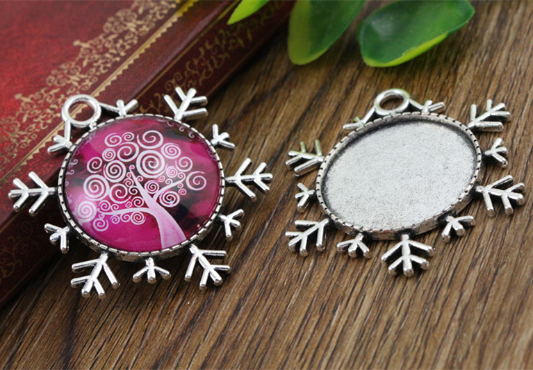 New Fashion  3pcs 25mm Inner Size Antique Silver Snowflake Style Cabochon Base Setting Charms Pendant (A3-25)