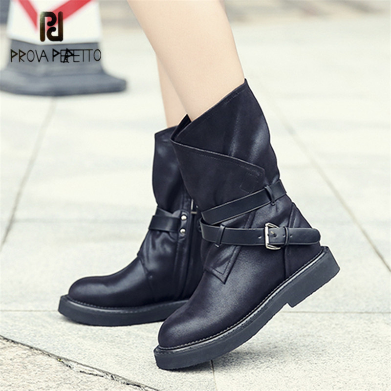 Prova Perfetto Punk Style Women Ankle Boots Casual Flat Boot Straps Female Black Martin Boots Platform Botas Mujer Creepers prova perfetto horsehair ankle boots for women lace up platform flats comfortable creepers female flat rubber boot espadrilles