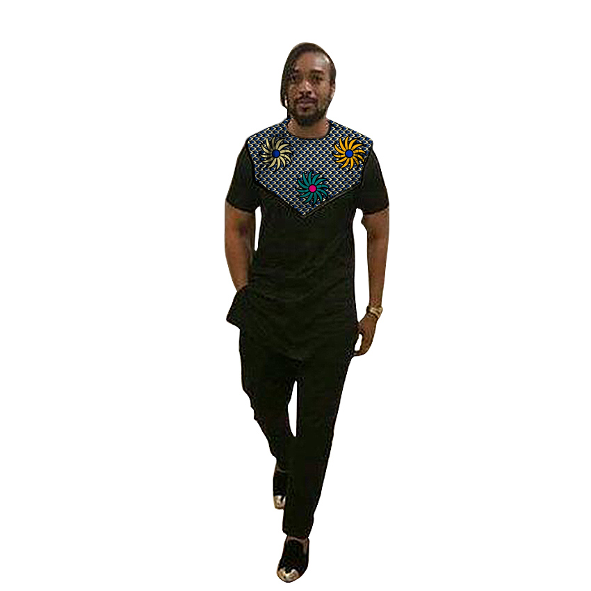 African Shirts For Men Trouser Sets Black Mix Prints Ankara Outfits Customized Wedding Wear Short Sleeve Patchwork Tops