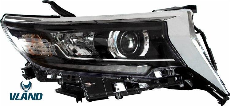 2019 Novo Design VLAND Acessórios Do Carro de Fábrica Para Land Cruiser Lâmpada de cabeça LED para luz Principal Prado 2017 2018 2019 com DRL + Sinal