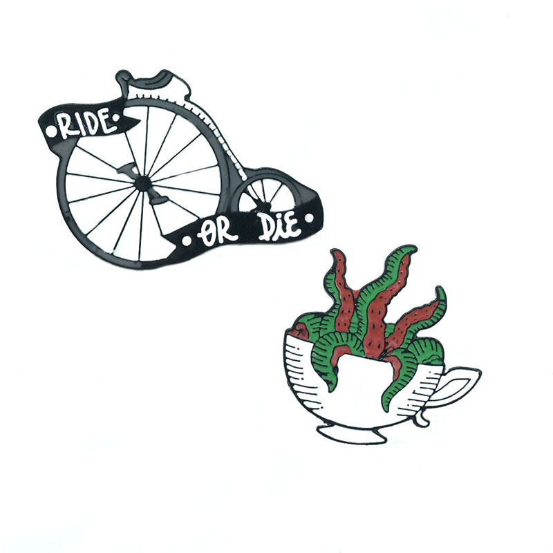 Multi-rooted Plant Teacup Potted Metal Enamel Brooch RIDE OR DIE Single Wheel Bicycle Badge Pin Funny Trendy Jewelry Gift