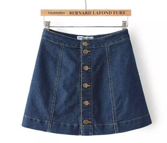 74421bed8 € 22.39 |2015 marca mujeres botones de mezclilla vaqueros falda cintura  alta corta Mini falda adulta clásico Jupe Sexy faldas para mujer de Saia ...