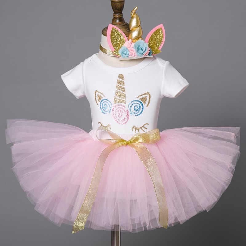 Verano 1 Año Bebé Niña Vestido Unicornio Fiesta Niñas Tutú
