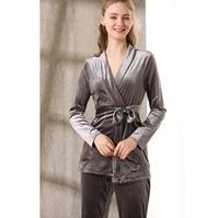 Spring autumn solid pajama women long sleeve kimono tops velvet home suit pajamas set