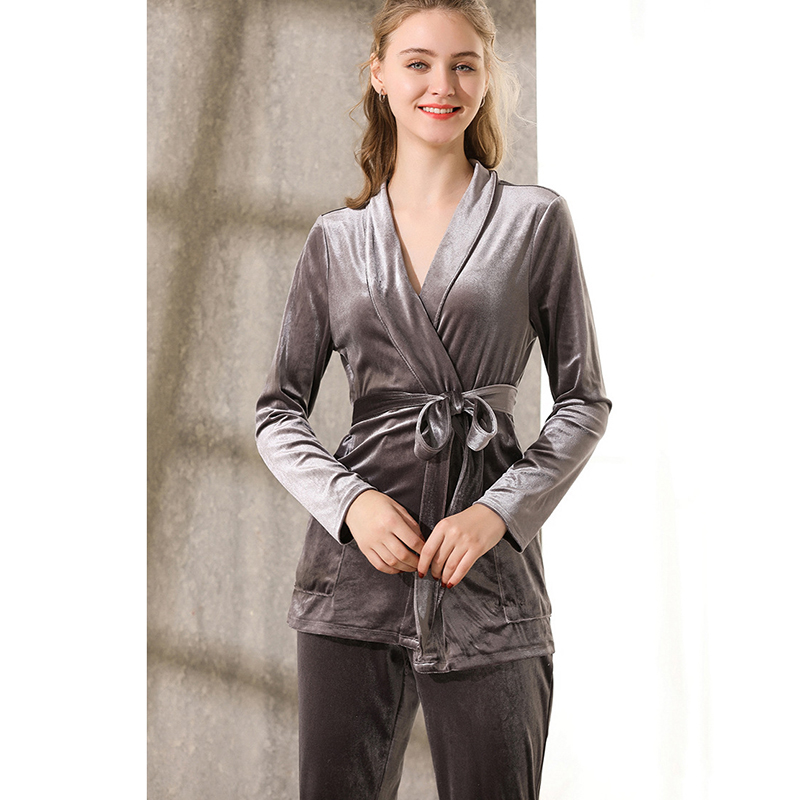 Spring Autumn Solid Pajama Women Long Sleeve Kimono Tops Velvet Home Suit Pajamas Set