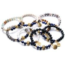 Natural Stone Chakra Bracelets with Tree of Life