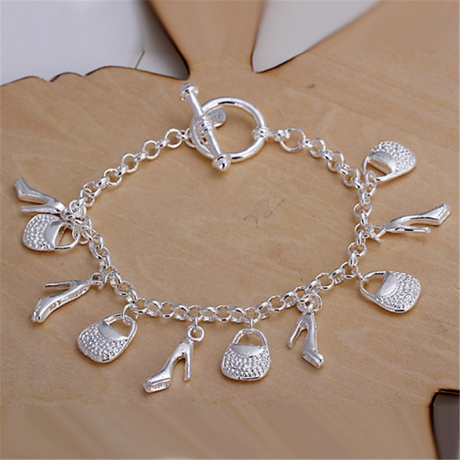 silver plated shoe bag women cute lady charms bracelets ...