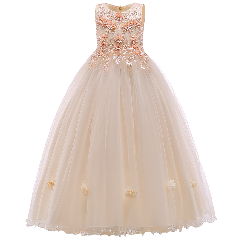 Girls' Princess Dress Gauze Wedding Ceremony Bridal Party Dress Performance Piano Performance Embroidery Party Dresses