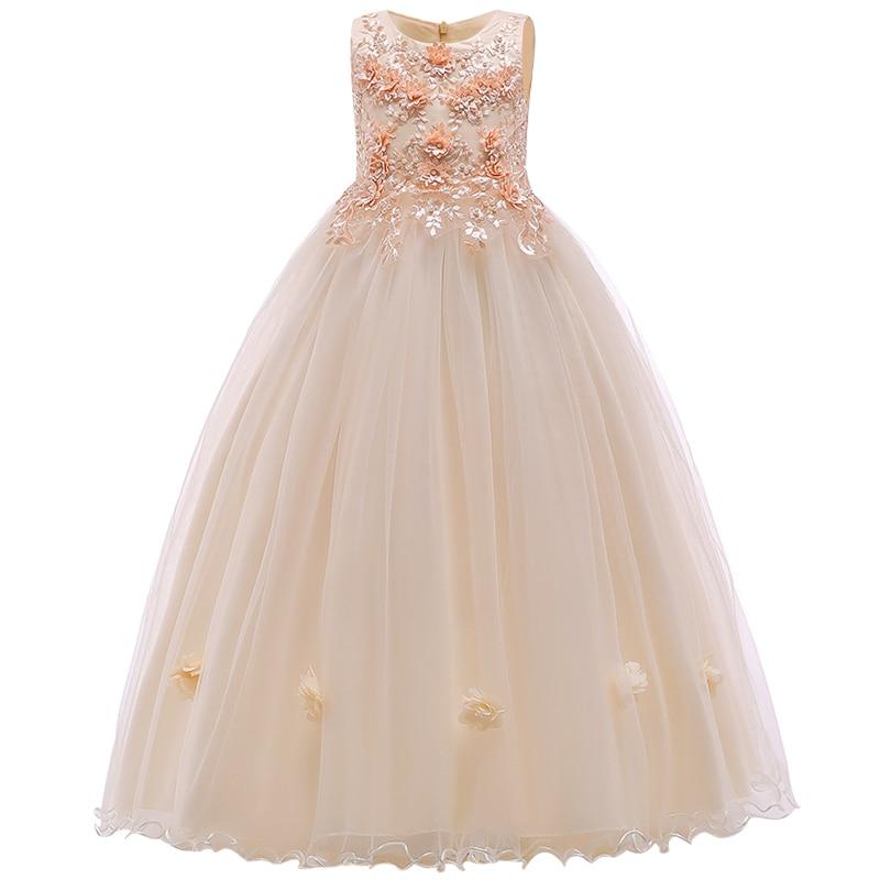 Girls' Princess Dress Gauze Wedding Ceremony Bridal Party Dress Performance Piano Performance Embroidery Party Dresses