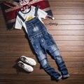 Moda Retro de Los Hombres Slim Fit Denim Jeans Monos 2017 Nuevo Resorte de la llegada del Hombre Flaco Overol Pantalones Vaqueros Masculinos Vaqueros Lavados pantalones