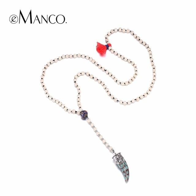 EManco ethnique Vintage fait à la main corne de boeuf Long collier de perles pour les femmes collier pendentifs en alliage cloisonné avec des pierres bijoux