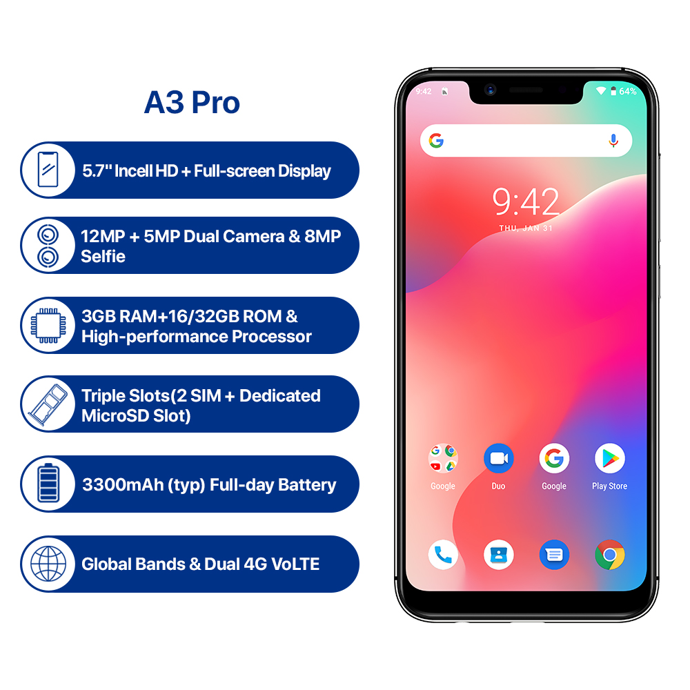 UMIDIGI A3 Pro Android 9,0 глобальные диапазоны 5,7 19:9 полноэкранный смартфон, 3 Гб оперативной памяти, Оперативная память MT6739 Quad core 12MP + 5MP Dual core 4G 3 слота 3300 МА ч - 3