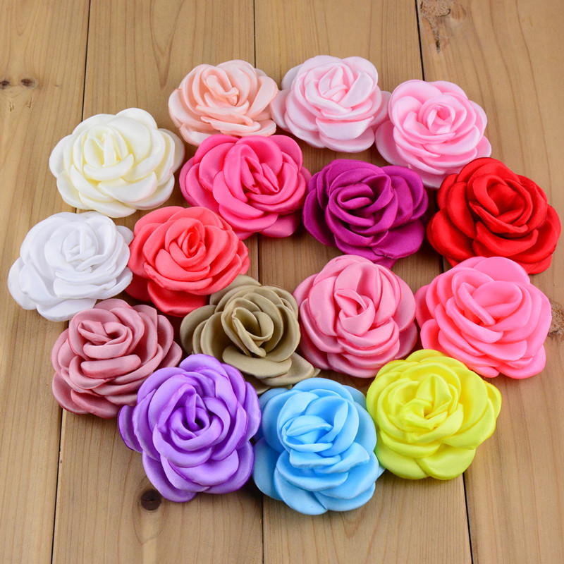 50pcs/lot 32 Color U Pick 2.36 Inch Burned Satin Rose Hair Flowers Handmade Fabric Applique Wedding Floral Supply MH31 random  pick 15 items   5 wedding dress