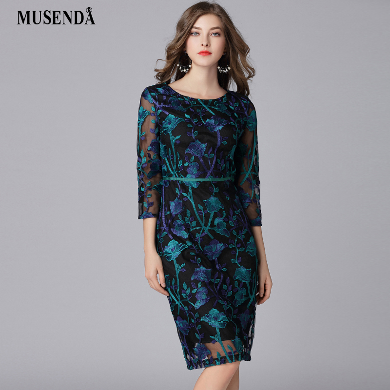 MUSENDA Plus Size Women Lace Mesh Embroidery Tunic Pencil Dress New 2018 Spring Female Office Lady Dresses Vestido Robe Clothing