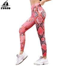 FDBRO High Waist Yoga dance Pants Mini Snake Print Sports Underpant Slim Hip Lifting Pencil Pants Leggings Seamless Gym Trousers