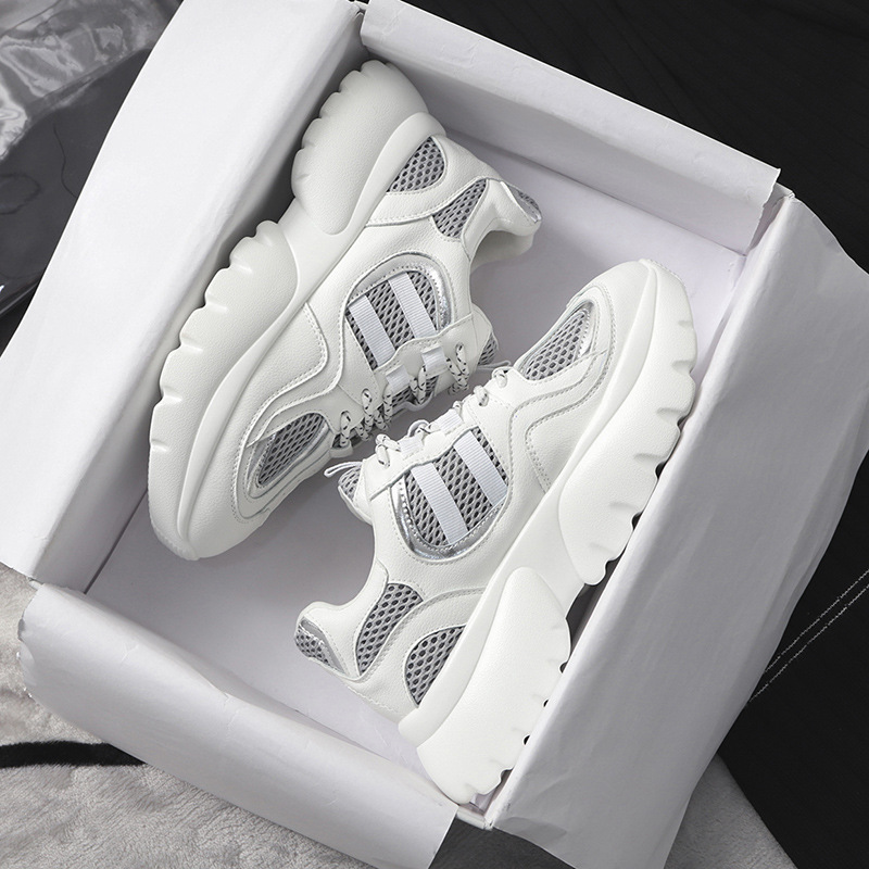 Zapatos Mode blanc Loisirs Plate Chaussures Femme Chunky Respirant Mujer forme De Marque 2019 Patchwork Spring Noir Sneakers Femmes xzppRqtwnT