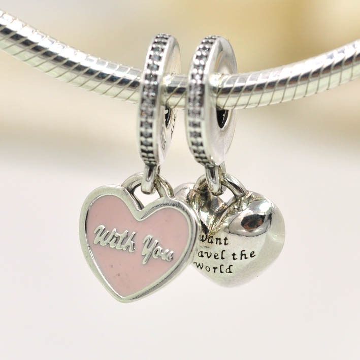 2017 New 925 Sterling Silver Charms Travel Together Heart Charm Pendant Fits Pandora Bracelets Bangles Diy Jewelry On Aliexpress Alibaba